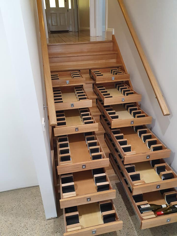Builder Transforms Staircase Into Wine Cellar In A Week And A Half Using Bunnings Drawers