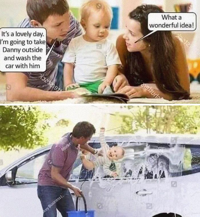 Dad using baby to wash car pun