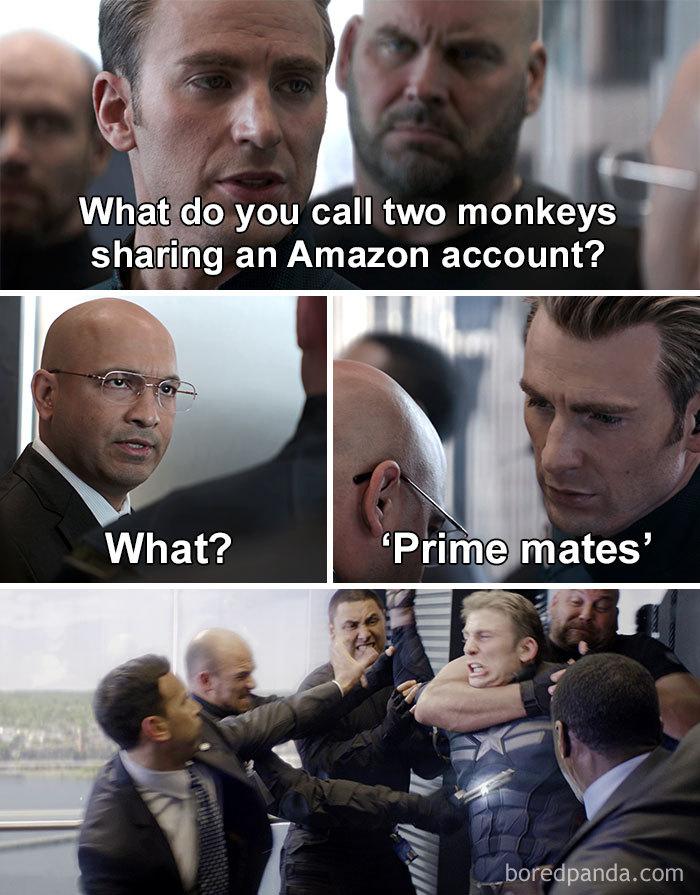 Captain America Dad Jokes Two Monkeys With An Amazon Account Prime Mates