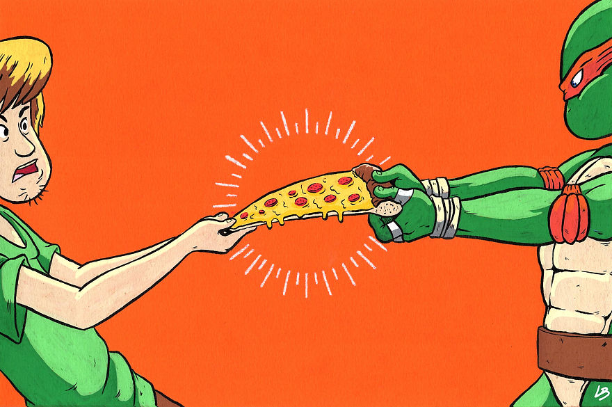 A Slice Of Pizza For Shaggy And Michelangelo