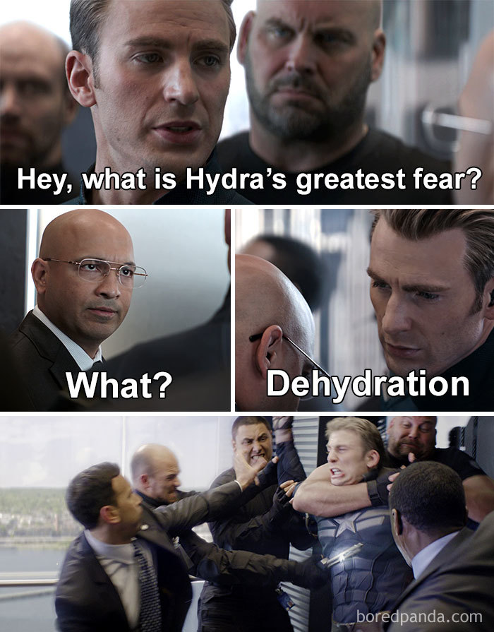 Captain America Elevator Meme Dehydration Hail Hydra