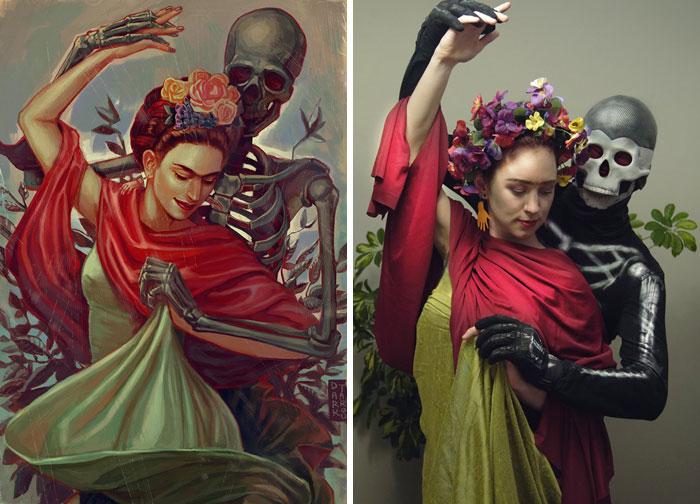 """Frida Kahlo """"Dancing With Skeleton"""""""