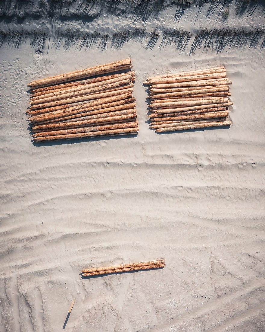 Breakwater Piles On A Beach (Poland)