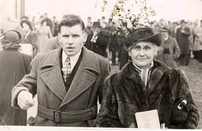 1940 My Grandad (17 Years Old In Photo) At The Dublin Races With His Mother, My Great Grandmother. Apologies About The Image Defect, It's The Best Photograph We Have Of Him.