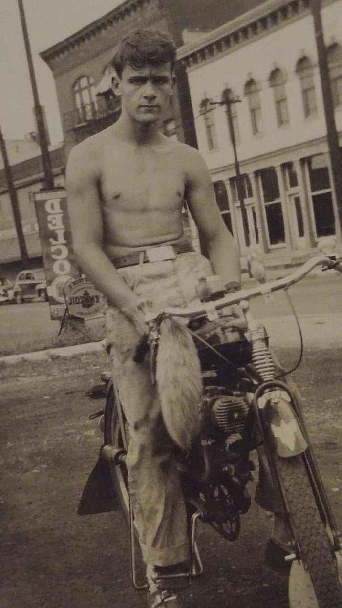 My 14 Year Old Grandfather Riding His New Bike In 1949 Dayton, Ohio