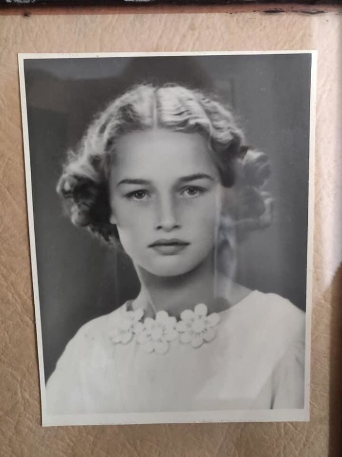 My Grandmother On Her Confirmation Day In 1941. She Is 14 Years Old In This Picture And She Made Her Own Dress.