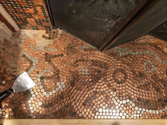 Artist Works On A Diy Project To Create This Stunning Mosaic Floor Out Of 7 500 Pennies Bored Panda