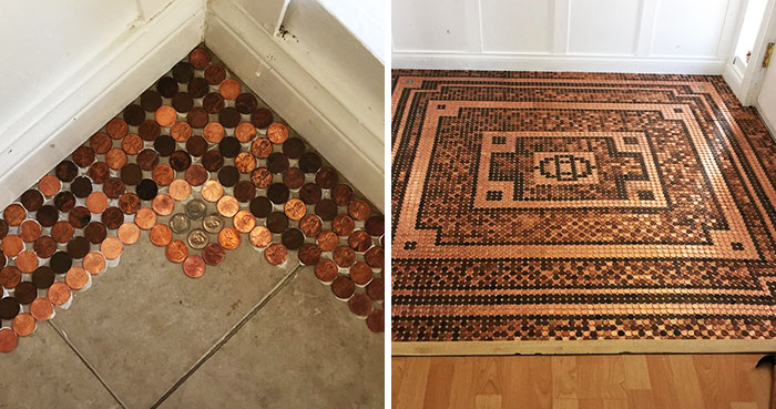 Artist Works On A DIY Project To Create This Stunning Mosaic Floor Out Of 7,500 Pennies