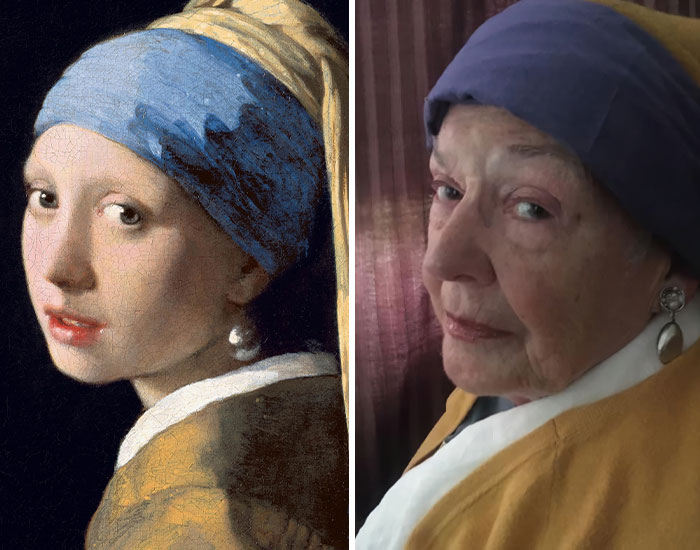 Daughter And Her 83-Year-Old Mother Are Recreating Famous Pieces Of Art While Stuck In Quarantine
