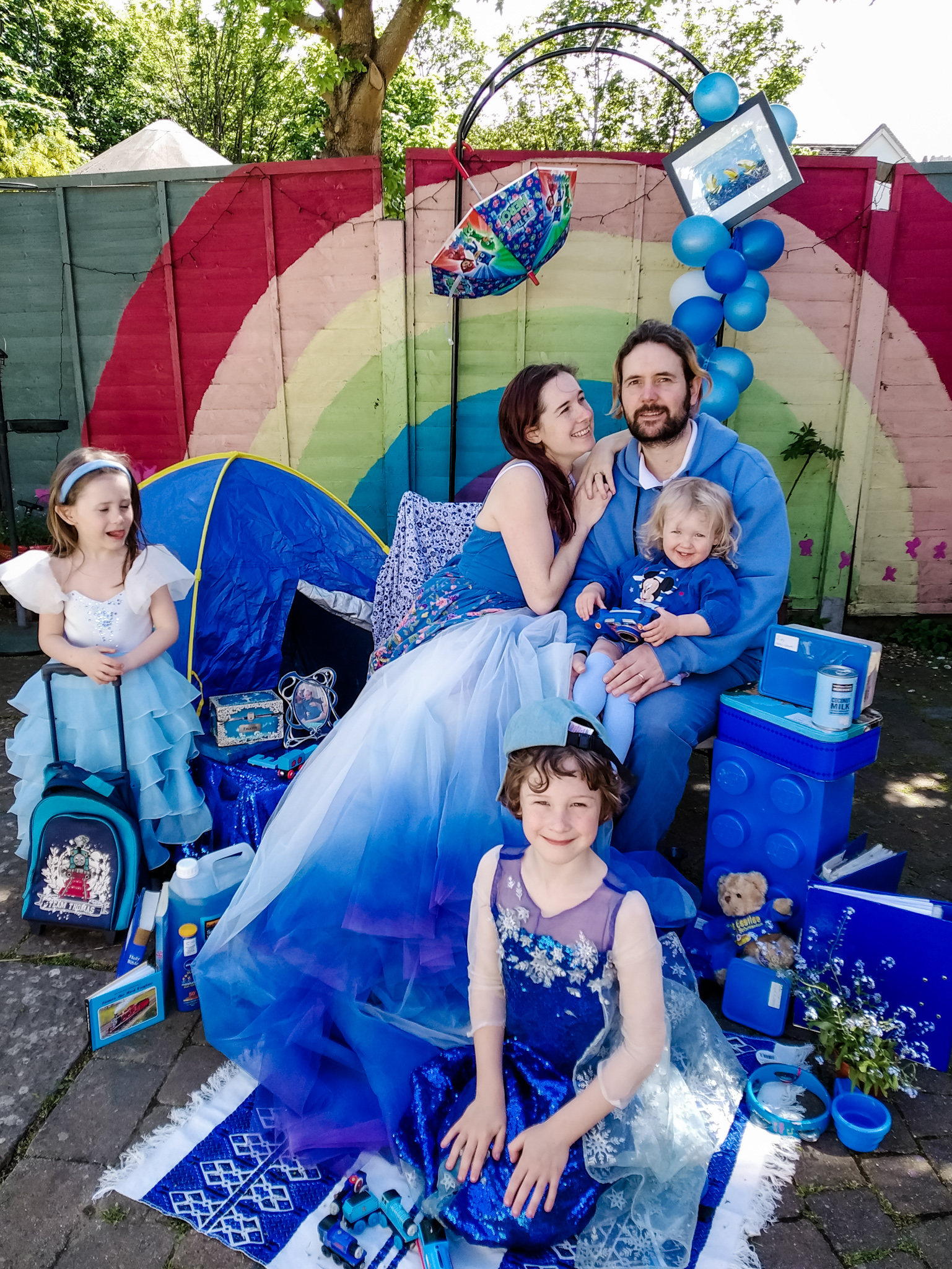 Alternative Wedding Dress Designer Who Loves Colour Has Fun In Lockdown With A Rainbow Of Family Portraits.