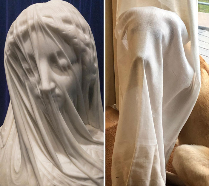 The Veiled Virgin By Giovanni Strazza, Early 1850s (Left)