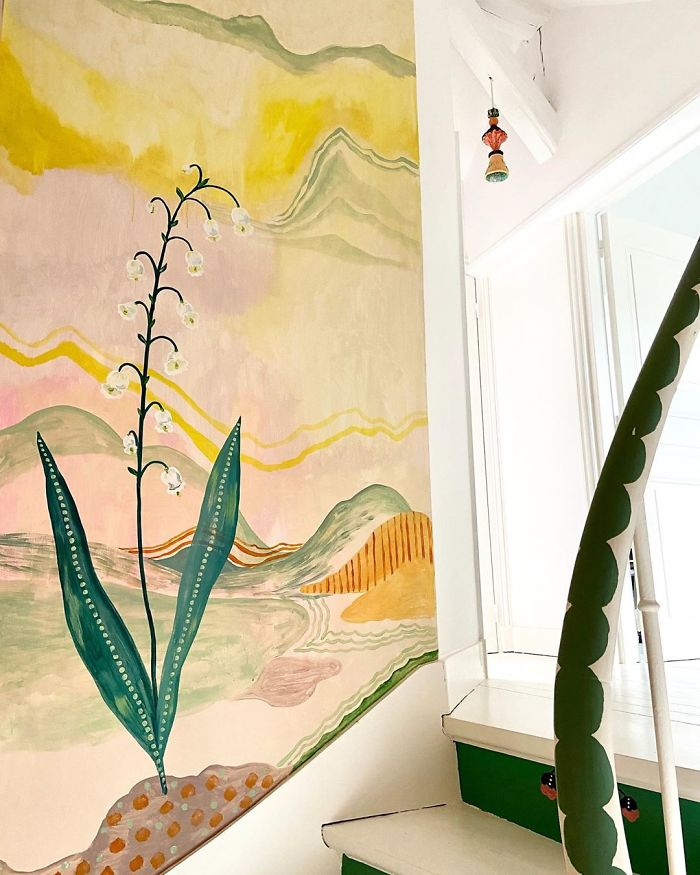 Artist Stuck In Quarantine Unleashes Her Creativity On Her House And Paints All Over The Walls