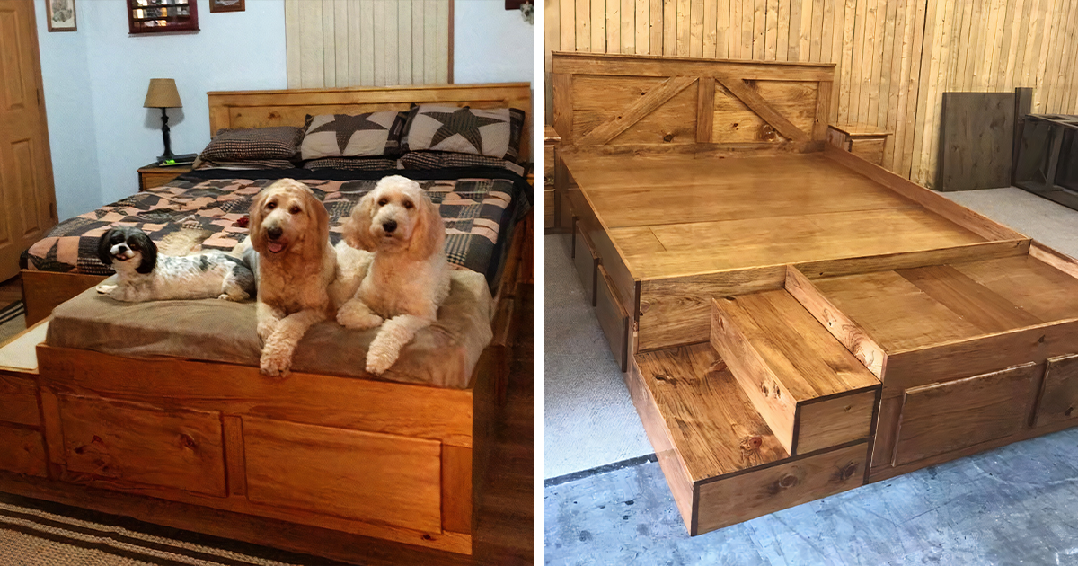 This Company Makes Custom $1,100 Wooden Bed Frames With Built-In Pet Beds
