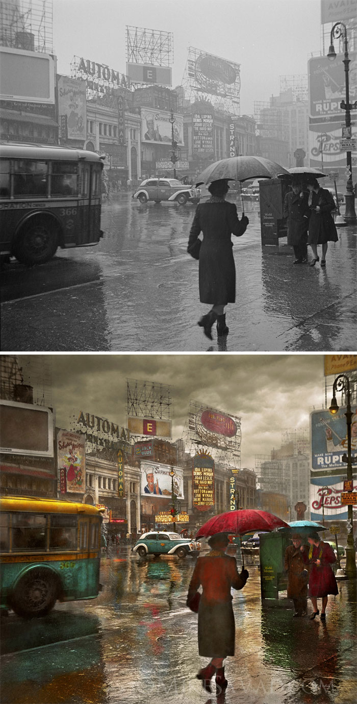 Times Square On A Rainy Day, 1943