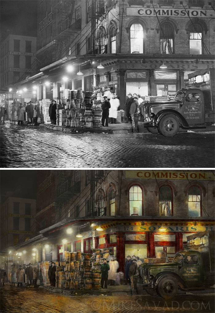 Washington Street Market, Buying At Night, 1952