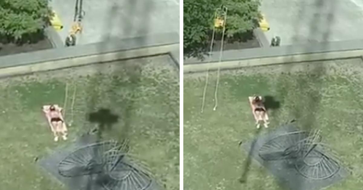 Crane Operator Annoys Sunbather By Casting A Shadow On Him