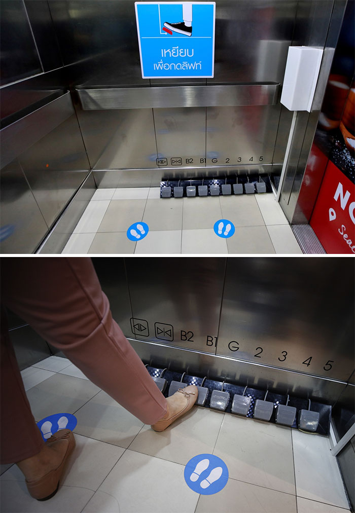 Because Of Covid, The Buttons On This Lift Have Been Replaced With Pedals. People In Wheelchairs Have Issues Operating The Lift Now