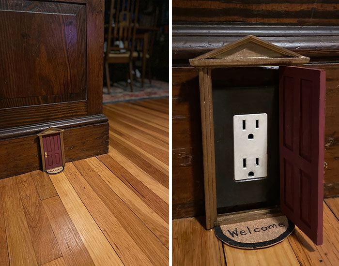 Woman Puts Dollhouse Doors As Electrical Outlet Covers Around Her Home