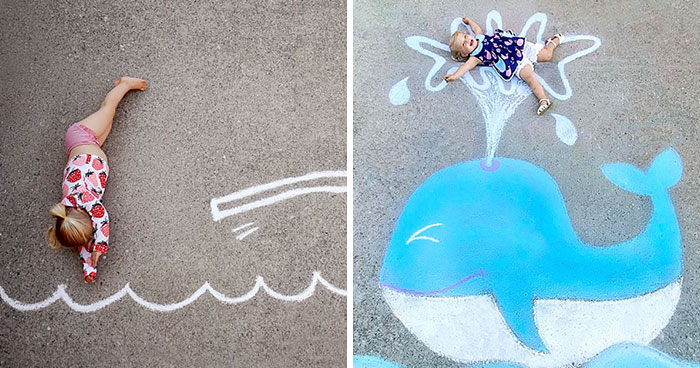 30 Pics Of A Family That Uses Chalk Art To Go On Adventures During The Lockdown