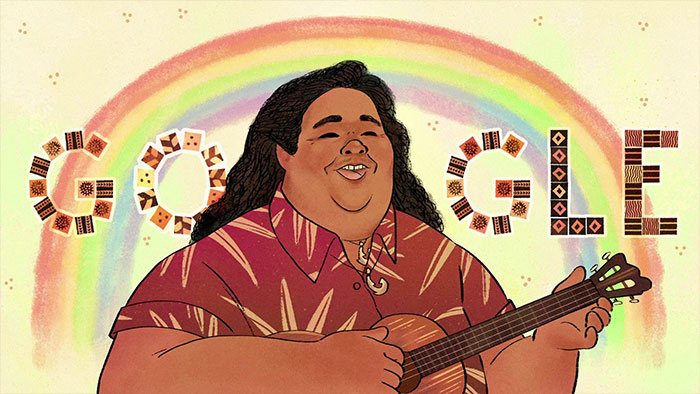 "Google Doodles A Video Celebrating Hawaiian ""Over The Rainbow"" Singer IZ's 61st Birthday"
