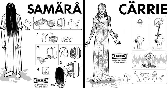 Illustrator Creates Ikea Instructions On How To Make Horror Movie Characters 26 Pics Bored Panda