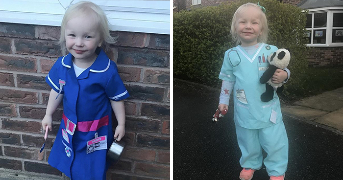 2-Year-Old Girl Dresses Up As Different Key Worker Each Week To Show Support For Them