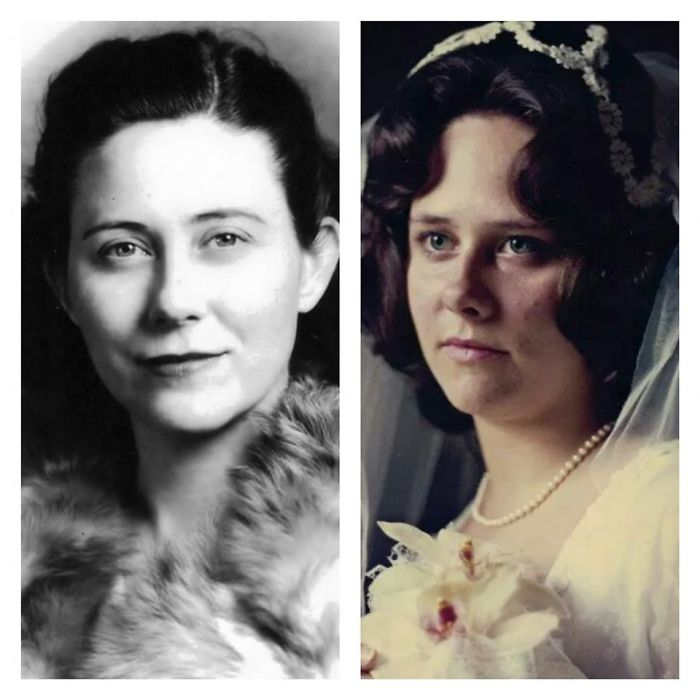 She Was About 17 When This Photo Was Taken. She Was Born In May Of 1918. On The Right Is Her Daughter, My Mother, Mary. She Was 19 And It Was The Day She Married My Dad