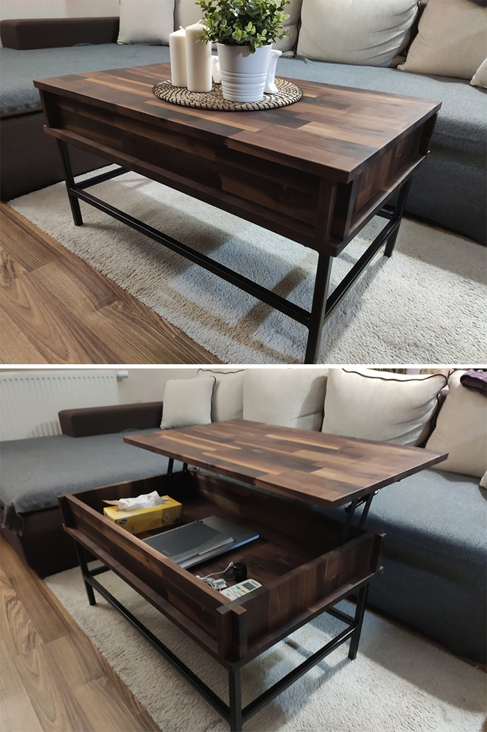 We don't have space for a dining table in our apartmant, so I have made a walnut lift-top table. (inspiration from Make Something YouTube channel)