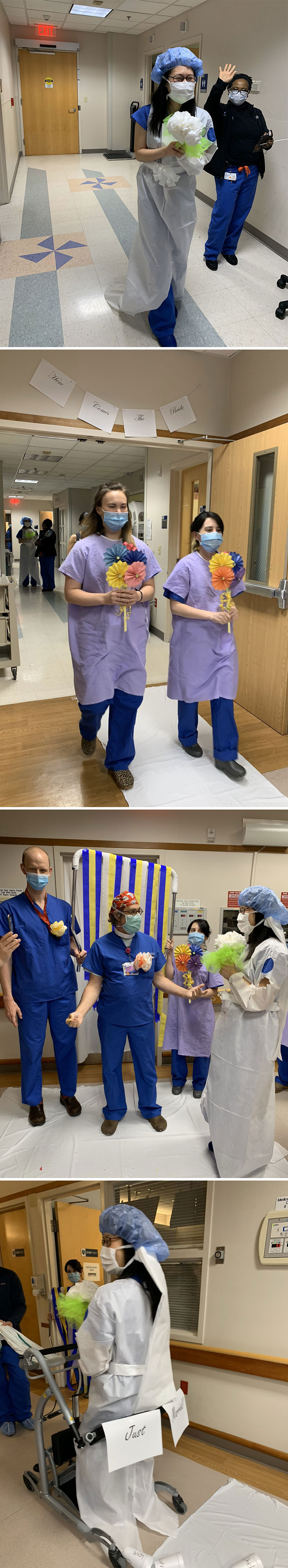 When Your Co-Resident's Wedding Has Been Thrown Off By Covid-19, You Do Your Best PPE For A Hospital Ceremony