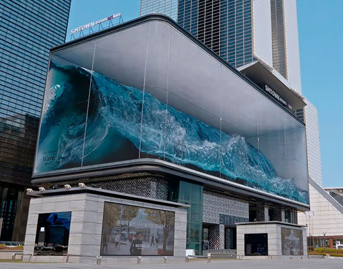 "This Massive Wave Crashing In A Seoul ""Aquarium"" Is The World's Largest Anamorphic Illusion"
