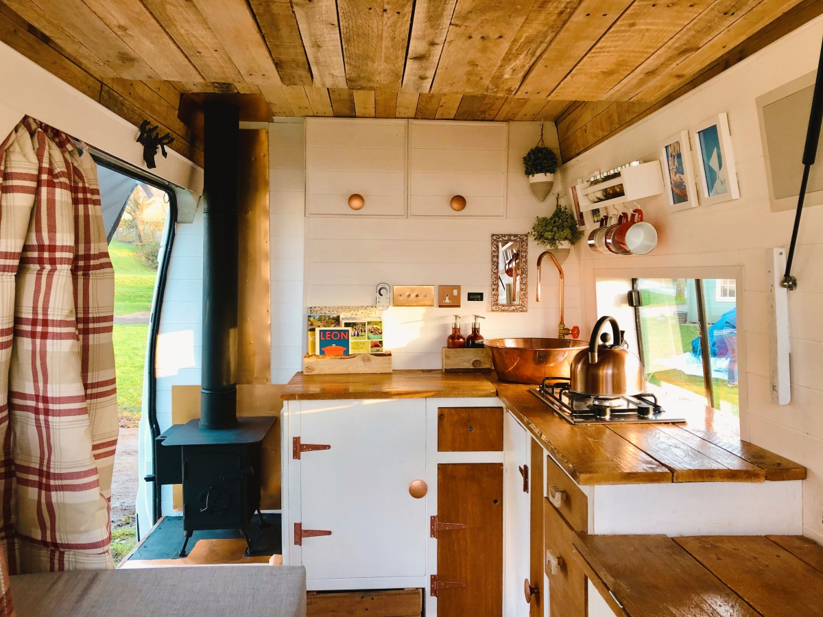 Amazing 2007 Ford Transit Camper-Van With A Cozy Wood Burning Stove.