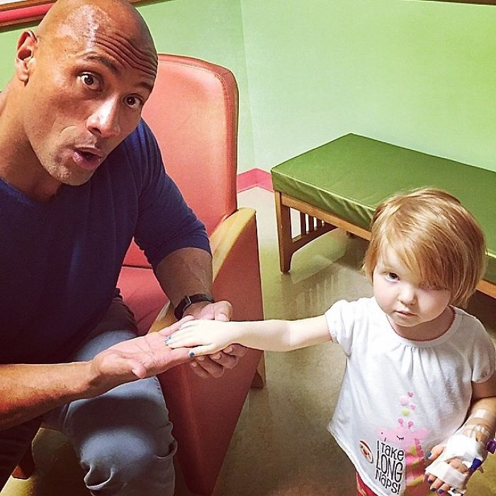 The Time He Visited The Children's National Hospital And Met Little Kara Who Showed Him Her Blue Nail Polish