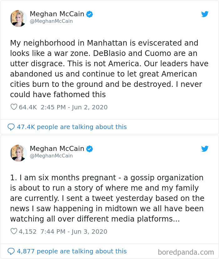 """Meghan Mccain Messed Up By Tweeting That Her Neighborhood Was """"Eviscerated"""" After Protests, But Then Admitted She Wasn't Even In New York"""