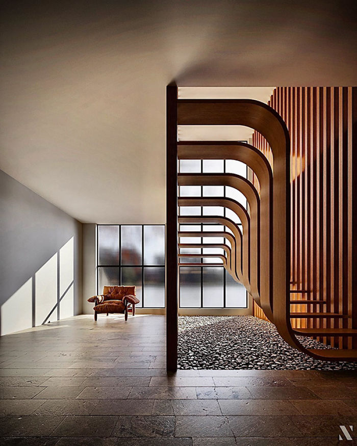This Minimalistic Staircase Resembles A Strand Of DNA Inside Of A Two-Story Home
