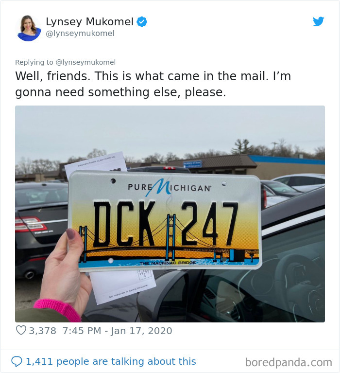Grand Rapids, MI Reporter Gets Her New License Plate