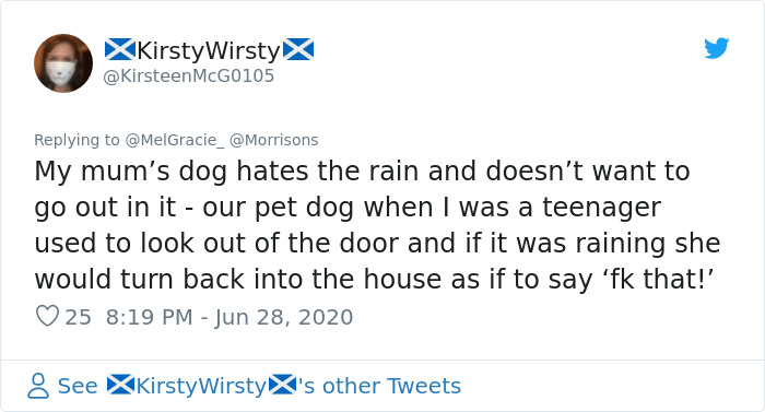 Security Guard For A Morrisons Store Goes Viral For Shielding A Waiting Dog From The Rain With His Umbrella