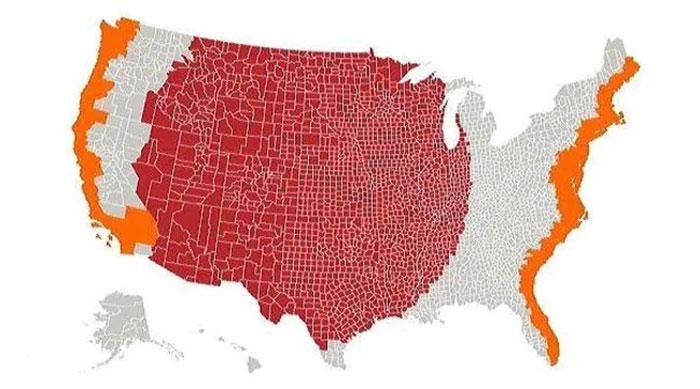 Las zonas naranjas tienen la misma población que la roja