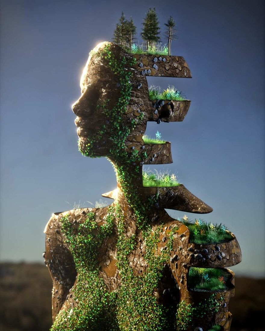 Artist Creates Incredible Digital Sculptures Interacting With Nature