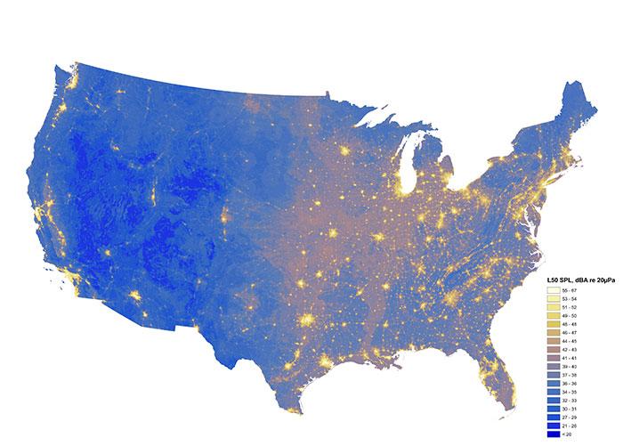 Las áreas más ruidosas y silenciosas de EEUU