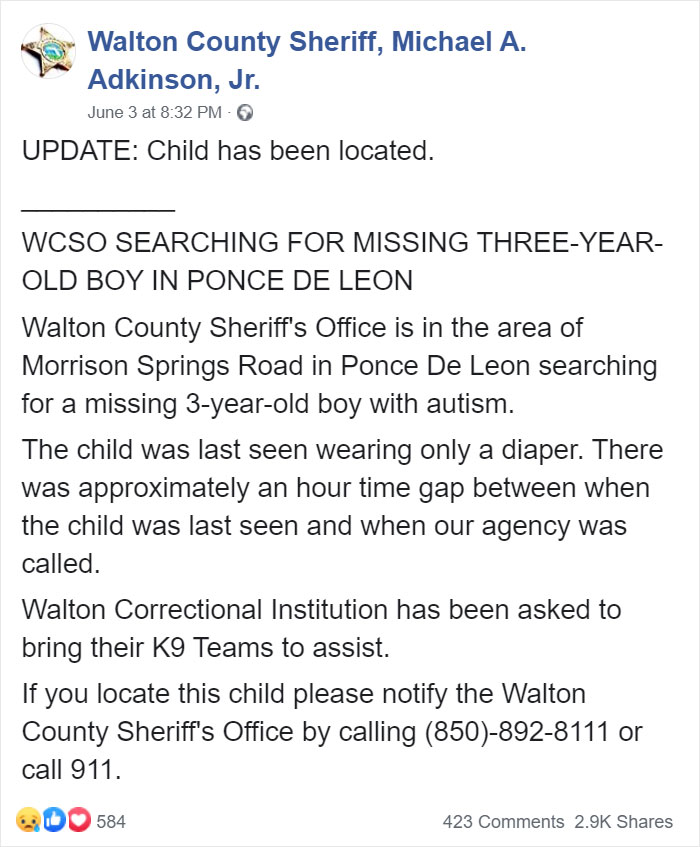 """""""We Don't Deserve Dogs"""": Missing Autistic Toddler Found In The Care Of His Family's Dogs"""
