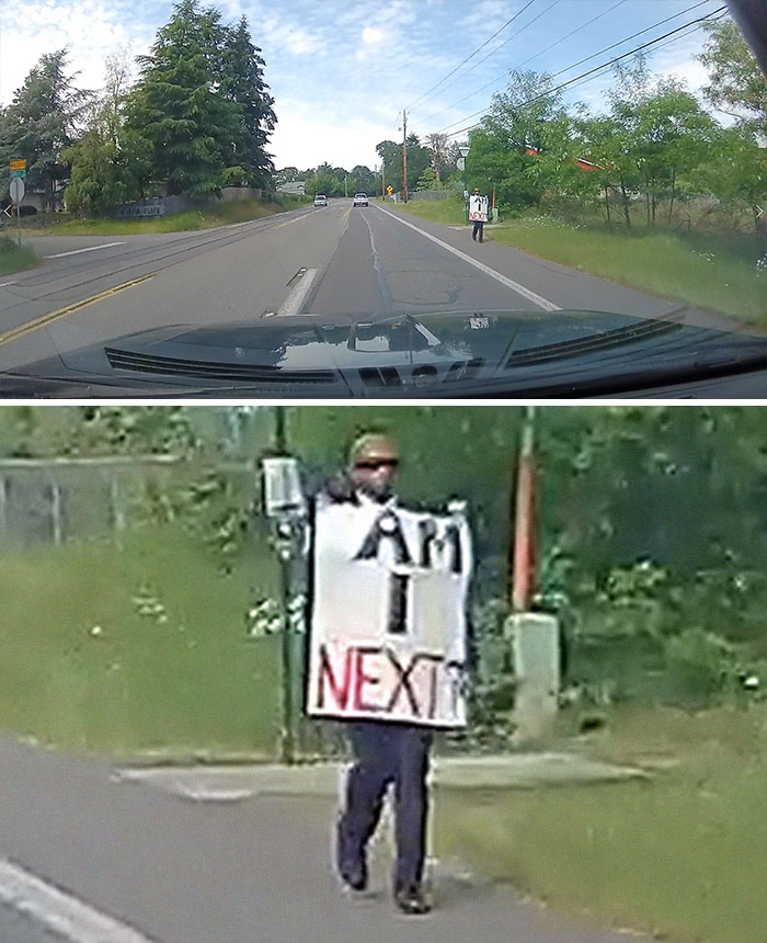 #blacklivesmatter Lone Protester In Lacey - Marvin Road - #blm - What A Powerful Lone Protester Today! It's Good To See This Out In The Rural Community Too.