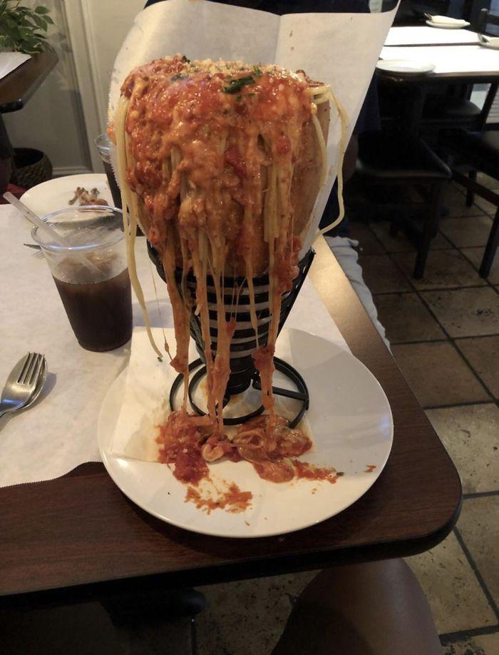 Spaghetti Bolognese In A Bread Cone