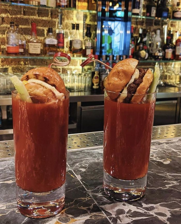 Burgers As Garnish In A Bloody Mary