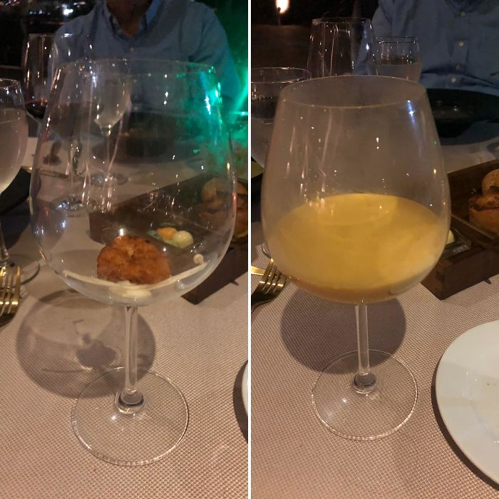 Not In Need Of A Plate, But A Bowl Would Have Been Nice As Opposed To This Wine Glass For My Soup, Which Was Poured At The Table Out Of A Wine Bottle