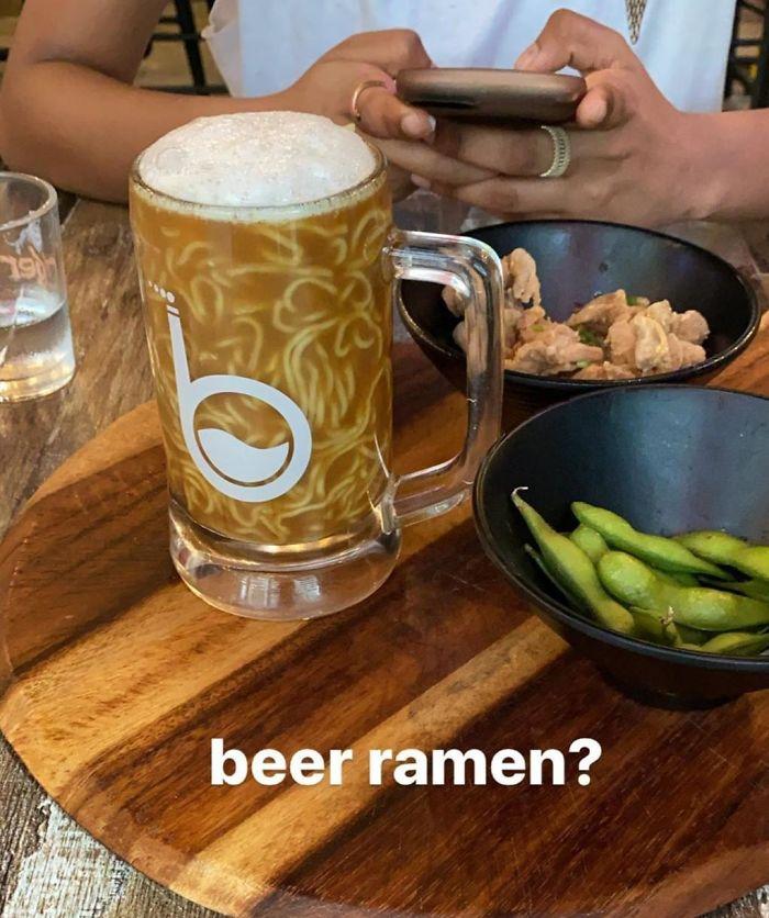 My Friend's Ramen Was Served In A Beer Mug