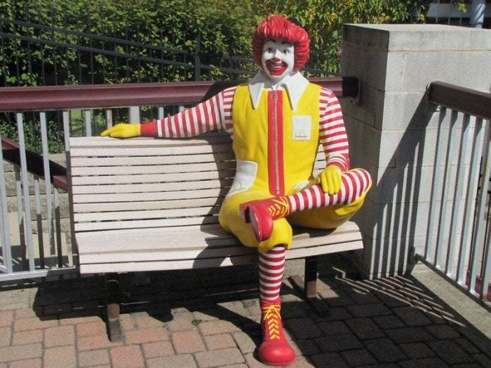 Ronald Mcdonald Bench That Was Popular Around McDonald's Establishments Until Sometime Around The Early 2000s