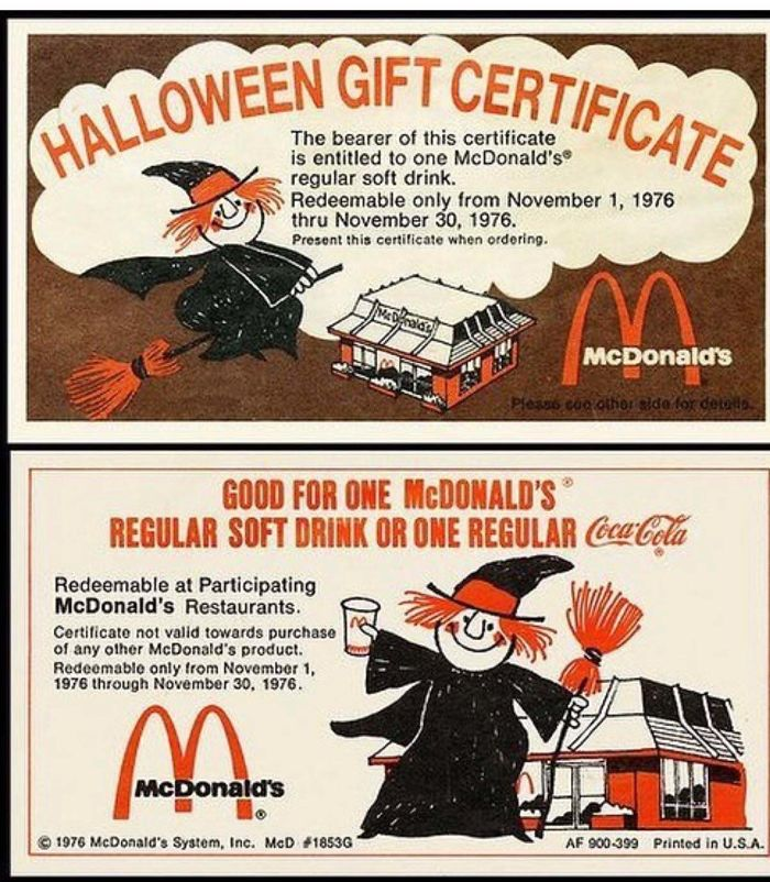 Mcdonalds Gift Certificates. They Were The Golden Tickets Of Trick Or Treating