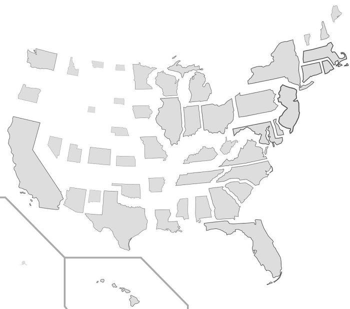 Escala de los estados proporcionalmente a su población