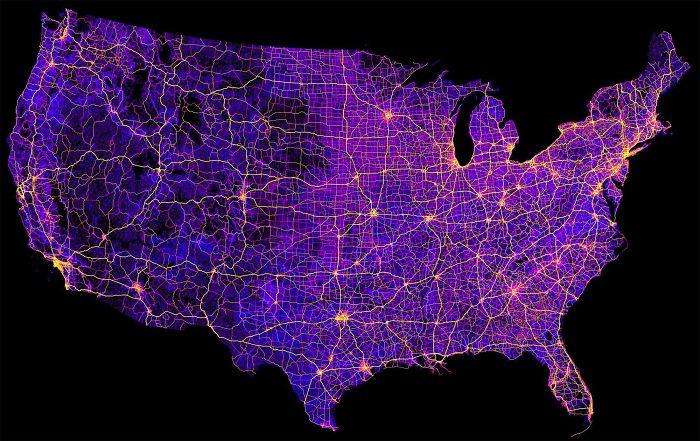 Mapa de los 8 millones de millas de carretera en EEUU