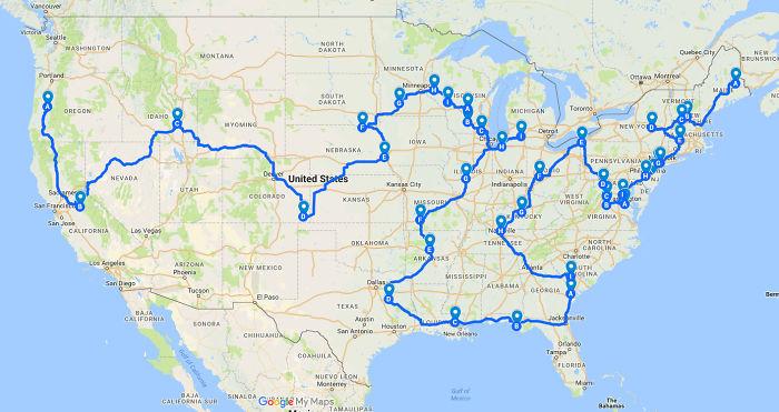 La ruta más eficiente entre todos los Springfield de EEUU
